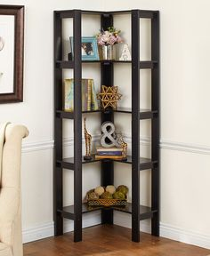 The L-Shaped Corner Shelving Unit helps maximize space in any room. It features 5 generously sized shelves for storage, keepsakes, decor items and more. Corner Shelves Living Room, Corner Shelving Unit, Corner Storage, Shelving Units, Storage Shelves, Furniture Layout, Rustic Furniture, Living Room Furniture, Living Room Decor