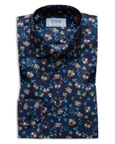 Eton Floral Regular Fit Dress Shirt In Navy Floral Shirt Dress, Floral Print Shirt, Summer Suits, Fitted Dress Shirts, Fashion Prints, Printed Shirts, Dress To Impress, Mens Fashion, Shirt Men