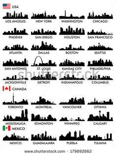 Find City Skyline North America stock images in HD and millions of other royalty-free stock photos, illustrations and vectors in the Shutterstock collection. Thousands of new, high-quality pictures added every day. New York Washington, Skyline Silhouette, Silhouette Vector, City Tattoo, Stock Foto, Icon Set, North America, America City, Tatoos