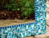 Teal Mosaic Mirror, Custom Order