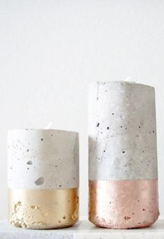 DIY candle holders concrete using buckets/bottles etc. dipped in paint color of choice (metal, greys and earth colors)
