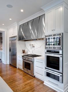 Andrew Roby General Contractors - kitchens - white & stainless kitchen with massive range vent hood! Kitchen Inspirations, Double Oven Kitchen, Kitchen, Kitchen Design, Outdoor Kitchen, Kitchen Remodel, Kitchen Renovation, Trendy Kitchen, Kitchen Layout