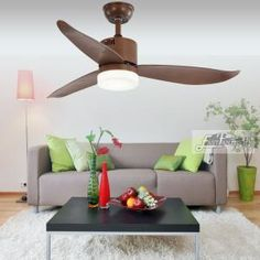 Proud EF48122 3woodceilingfanwithlight and remote | Ceiling Fan Ceiling Fans Without Lights, Dc Ceiling Fan, Ceiling Lights, Modern Ceiling, Wood Ceilings, Modern Room, Save Energy, Bulb, Indoor
