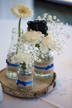 16 Ideas For Backyard Wedding Reception Centerpieces Mason Jars Royal Blue Wedding Decorations, Wedding Reception Centerpieces, Royal Blue Centerpieces, Centerpiece Flowers, Cobalt Blue Weddings, Sapphire Blue Weddings, Wedding Jars, Wedding Ideas, Wedding Themes
