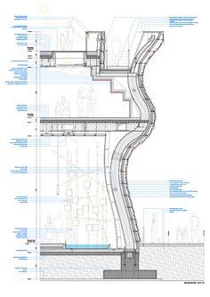 Gallery of Vanke Pavilion - Milan Expo 2015 / Studio Libeskind - 30 Vanke Pavilion – Milan Expo 2015 / Daniel Libeskind Pavilion Architecture, Architecture Drawings, Architecture Details, Chinese Architecture, Daniel Libeskind, Construction Drawings, Architectural Section, Expo 2015, Image 30