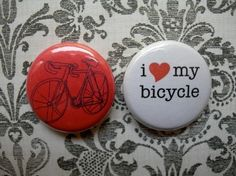 bicycle love set 1 buttons by TheBeedle on Etsy