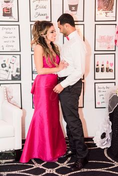 chanel bridal shower, decor, ideas, wedding, decor, idea, pink, jovani gown, bridal shower dress, attire, bride to be, wedding, detachable skirt, evening gown, fuchsia pink, Chanel bridal shower, groom, pink bow tie   www.baysstylediary.com