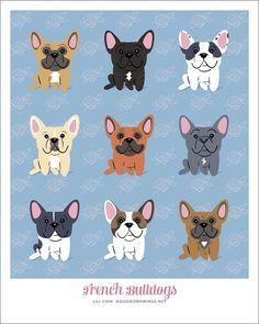 Etsy の FRENCH BULLDOG breed art print by doggiedrawings