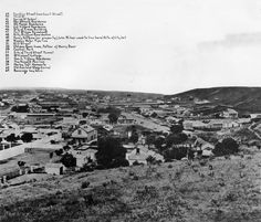View looking south from Poundcake Hill, 1868. Broadway is the main street in the middle of the photo. This view today would be looking at the north side of the LA times building complex.