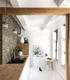 industrieel karakter, keuken, hout, steen
