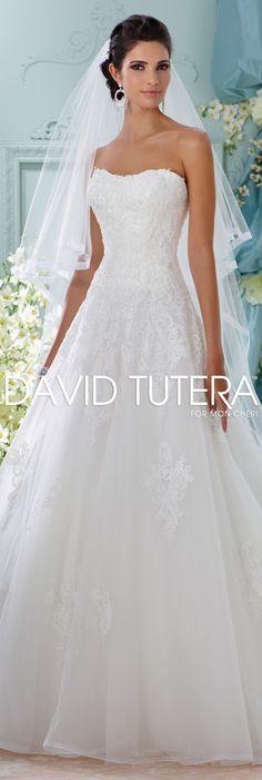 The David Tutera for Mon Cheri Spring 2016 Wedding Gown Collection - Style No. 116208 Alesea #laceweddingdresses