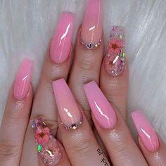 Acrylic Nails Natural, Summer Acrylic Nails, Best Acrylic Nails, Acrylic Nail Art, Colored Acrylic Nails, Cute Acrylic Nail Designs, Gel Nail Designs, Beautiful Nail Designs, Fancy Nails Designs