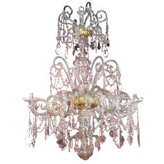 [An important century Spanish blown glass chandelier, made by the Real Fabrica de Cristales de La Granja for the Palacio Domecq in Jerez de la Frontera. I have a not-so-secret obsession with chandeliers. Blown Glass Chandelier, Antique Chandelier, Chandelier Pendant Lights, Modern Chandelier, English Antique Furniture, Rococo Furniture, Chandeliers, Gas Lights, Contemporary Lamps