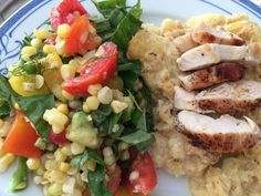 Delicious! A fresh summer salad with sweet corn I cut off the cob and cooked, summer tomatoes, avocado, tons of fresh basil and dill, green onions, salt, pepper, vinegar, and olive oil. I served it with four cheese creamy garlic spaghetti squash and grilled chicken breast.