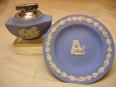 Vintage Wedgewood Lighter & Small Trinket Plate Blue White Trim England Ornate
