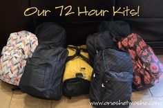 Our 72 Hour Kits ~ Great To Have On Hand for Emergencies! www.oneshetwoshe.com #emergencypreparedness #foodstorage #72hourkits