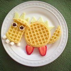 Fun breakfast Food Art For Real Moms- dragon waffles Cute Snacks, Cute Food, Good Food, Yummy Food, Easy Food Art, Food Art For Kids, Toddler Meals, Kids Meals, Toddler Food