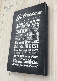 Custom Family Rules Canvas, Chalkboard Typography Style, Pick your colors and text, Premium Canvas wrapped on solid wood frame