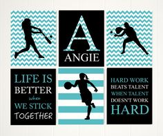 Girls quotes wall art, inspirational quote art, softball girl, basketball girl, basketball player, sports art for girls, set of 6 by PicabooArtStudio