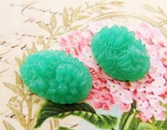 Vintage Green Glass Flower 18x13mm Cabochon Faux Carved Jade Floral Cameo Stones - 2 by alyssabethsvintage on Etsy
