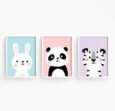 Sale Off – Nursery Art Set of 3 Baby Animals : Bunny Panda Tiger ( Cute Lovely Printable Baby Girls room art kids Poster Digital print ) Sale Off – Nursery Art Set of 3 Baby Animals : Bunny Panda Tiger ( Cute Lovely Printable Baby Gi Baby Room Art, Nursery Wall Art, Girl Nursery, Nursery Decor, Baby Room Paintings, Panda Nursery, Bunny Nursery, Nursery Canvas, Baby Decor
