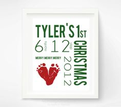 Babys First Christmas Decoration Personalized Nursery Art Print - Baby Footprint Wall Decor Red  Green - New Baby Christmas Gift via Etsy