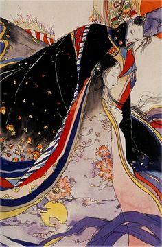 Yoshitaka Amano 天野喜孝 - The Tale of Genji Art And Illustration, Illustrations, Botanical Illustration, Fantasy Kunst, Fantasy Art, Art Furniture, Yoshitaka Amano, Art Asiatique, Shizuoka