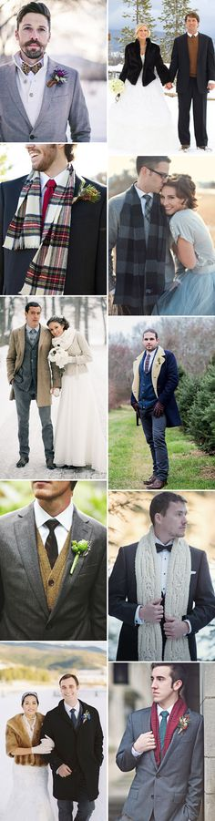Winter Warmers | winter wedding style for the groom | www.onefabday.com  Love the gray small herringbone coat over the tan sweater and brown tie!