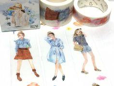 teen girl washi tape 5M x 3cm fashion girl cool girl cozy dress masking tape Japan comic girl natural beauty sticker tape girl diary decor by TapesKingdom on Etsy https://www.etsy.com/listing/510810003/teen-girl-washi-tape-5m-x-3cm-fashion