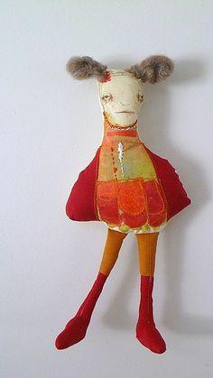 P E A R L....Original Mixed Media Art Doll. $55.00, via Etsy.