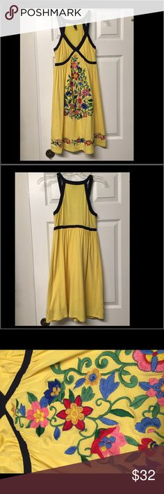 INC International Concepts Embroidered Racerback This high quality Macy's brand has a style to please everyone, and this yellow racerback style dress with its elaborately detailed multi-colored floral detail, falls right into that category!  Comfortable with lots of style, it's the perfect dress to slip into for any occasion!  INC International Concepts brand  Style #WPL 8046 Yellow with navy trim accents Elaborately detailed multi-color floral embroider on front  Women's size - Petite Above…