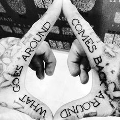 What Goes Around Comes Around Mens Inner Finger Tattoos