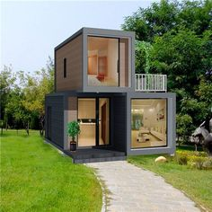 Source expandable flat pack container homes luxury house sale on m. - Source expandable flat pack container homes luxury house sale on m. Building A Container Home, Container Buildings, Container Architecture, Container Home Plans, Small House Design, Modern House Design, Shipping Container Home Designs, Shipping Containers, Shipping Container Cabin
