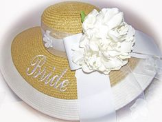 Monogrammed Natural & White Floppy Hat  by LaDiDaLadyBoutique (Accessories, Hats & Caps, wedding hat, bridesmaid hat, floppy hat, derby hat, sash hat, honeymoon hat, mother of the bride, Bridemaid, natural hat, natural floppy hat, Vacation hat, Bridal shower, Sorority)