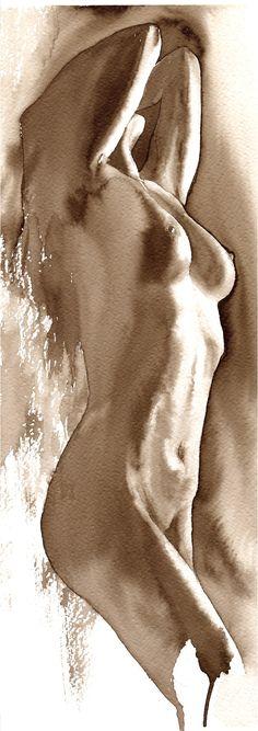 by Igor Sava Woman Painting, Figure Painting, Figure Drawing, Painting & Drawing, Art Watercolor, Watercolor Portraits, Figurative Kunst, Arte Tribal, Drawn Art