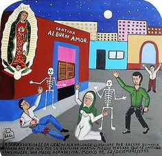 Señora Dionicia gives thanks to the Virgin of Guadalupe for saving her son Luis from dying after he had been shot by his brother Martin who thought that his wife cheated on him with Luis.  Thankful mother  Mexico, 12 December 1995