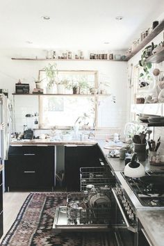 shelves around top of room