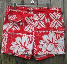 f2b1ee0b2bad6 Vintage 50s 60s Mens Hawaiian Swim Trunks Surf Shorts Red Floral Polynesian Vintage  Swim, Vintage