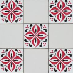 Cover outdated tiles.  Mibo Tile Tattoos in Ventor Poppy Red & Black on White