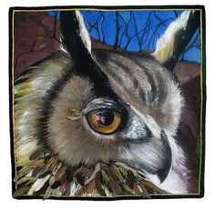 """""""Eye See My Beloved"""" by Maria Ferri Cousins, Syrie Blanco Walsh.  2nd place, The Animals We Love contest, Alliance for American Quilts - 2015. Painted on silk with Seta Silk fabric paint and other dyes. Then free-motioned thread painted with silk thread."""