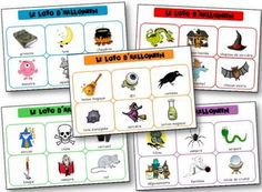 Halloween lotto to print to learn the lexicon related to the Halloween party, witch, ghost, vampire and other scary little beasts. Halloween lotto to print. Bingo Halloween, Google Halloween, Theme Halloween, Halloween Crafts For Kids, Halloween Coloring, Halloween 2018, Happy Halloween, Kids Crafts, Pokemon Go