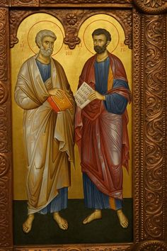 The Holy Apostles and Evangelists Matthew & Mark. Orthodox Icons, Christian Art, Saints, Painting, Projects, Christ, Byzantine Icons, Byzantine Art, Mosaics