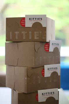 * I like the idea of the name on the side of the box!!! Kittie's Cakes/German Village Packaging