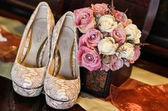 Elegant Bouquet and high heels for a classy bride. Wedding Flowers, High Heels, Bouquet, Classy, Bride, Elegant, Sneakers, Shoes, Fashion