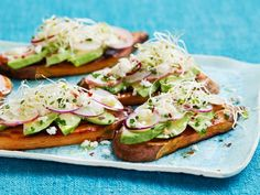 Get Sweet Potato Toast with Avocado and Sprouts Recipe from Food Network