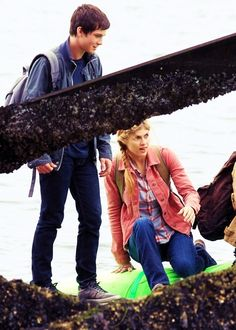 Logan Lerman and Alexandra Daddario as Percy Jackson and Annabeth Chase on the set of Percy Jckson and the Sea of Monsters