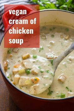 Savory baked tofu, hearty veggies, and a rich cashew cream base go into this luscious vegan spin on cream of chicken soup. The perfect creamy soup for cold fall and winter days! #vegan #veganfood #veganrecipes #vegetarian #vegetarianrecipes #plantbased #meatlessmonday #tofu