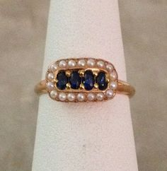 Ladies Victorian 14 Karat Yellow Gold Ring with Sapphires and Seed Pearls