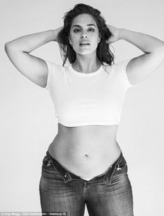 Size 16 Ashley Graham poses in the pared-back shots for the Glamour Iceland spread...