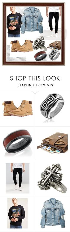 """""""brian dessron."""" by kaitlyn-cartwright ❤ liked on Polyvore featuring SOREL, Bling Jewelry, Levi's, 21 Men, Balmain, men's fashion and menswear"""